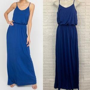 Lush royal blue blouson maxi dress knit stretch